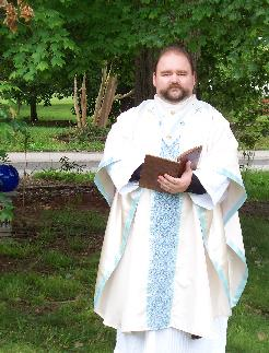 Fr. Geof wearing a Chasuble